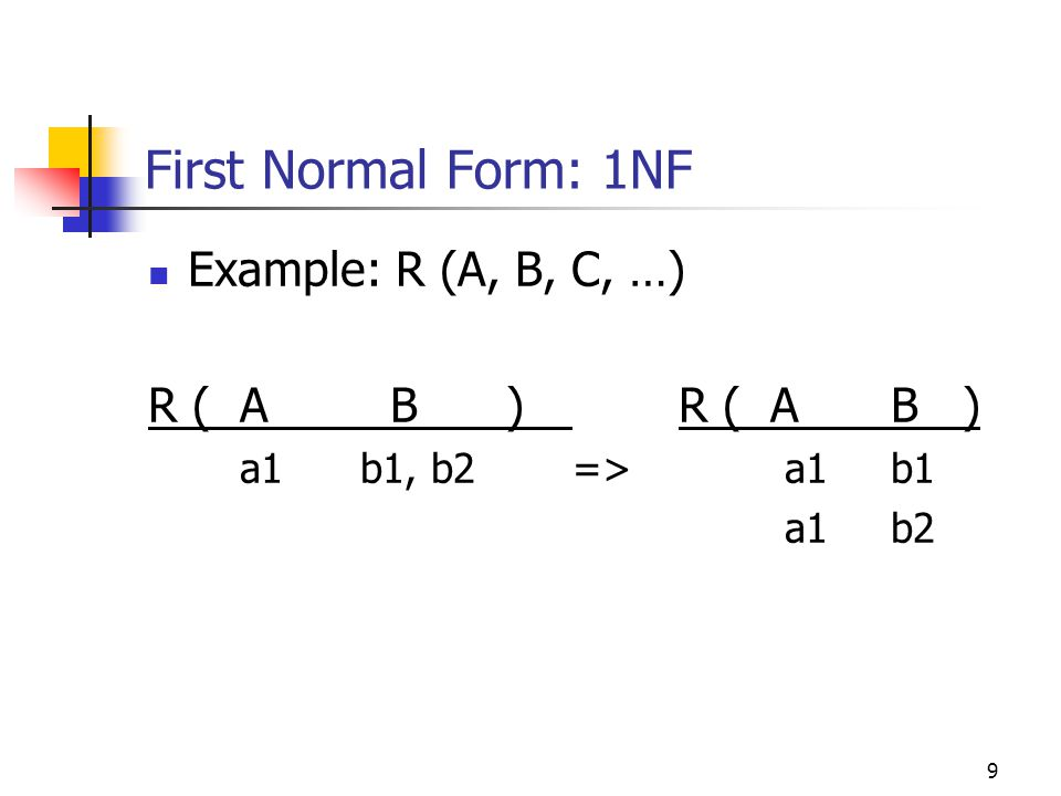 9 First Normal Form: 1NF Example: R (A, B, C, …) R ( A B )R ( AB ) a1b1, b2=>a1b1 a1b2