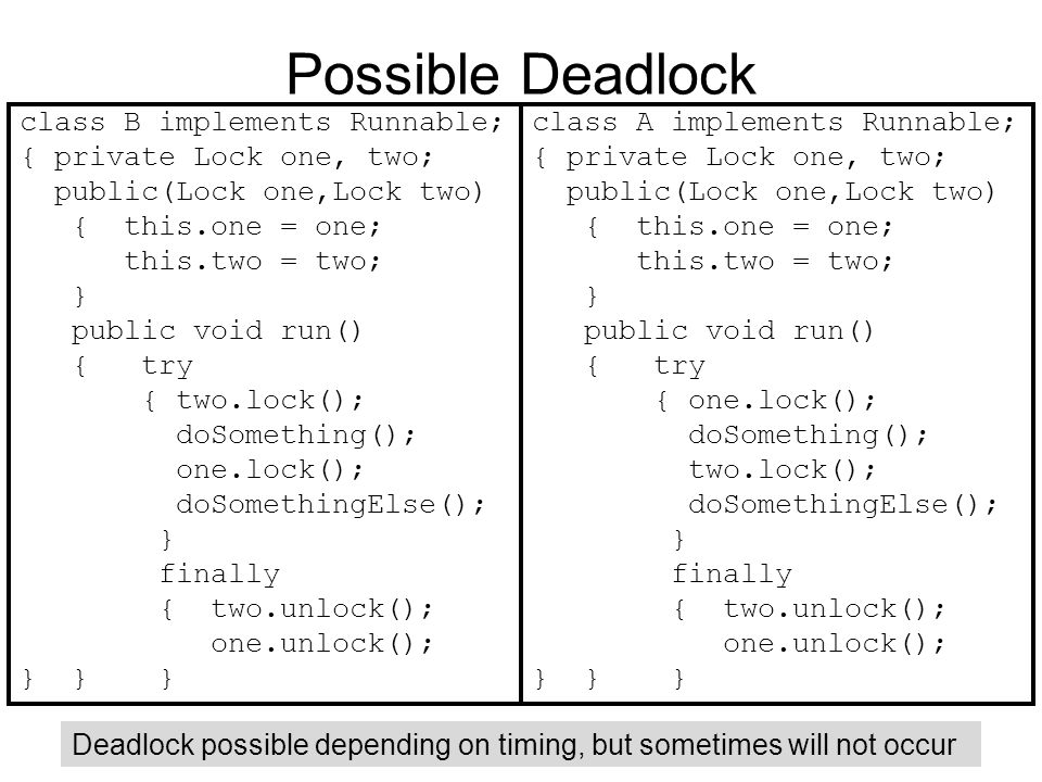 Possible Deadlock class B implements Runnable; { private Lock one, two; public(Lock one,Lock two) { this.one = one; this.two = two; } public void run() { try { two.lock(); doSomething(); one.lock(); doSomethingElse(); } finally { two.unlock(); one.unlock(); } } } class A implements Runnable; { private Lock one, two; public(Lock one,Lock two) { this.one = one; this.two = two; } public void run() { try { one.lock(); doSomething(); two.lock(); doSomethingElse(); } finally { two.unlock(); one.unlock(); } } } Deadlock possible depending on timing, but sometimes will not occur