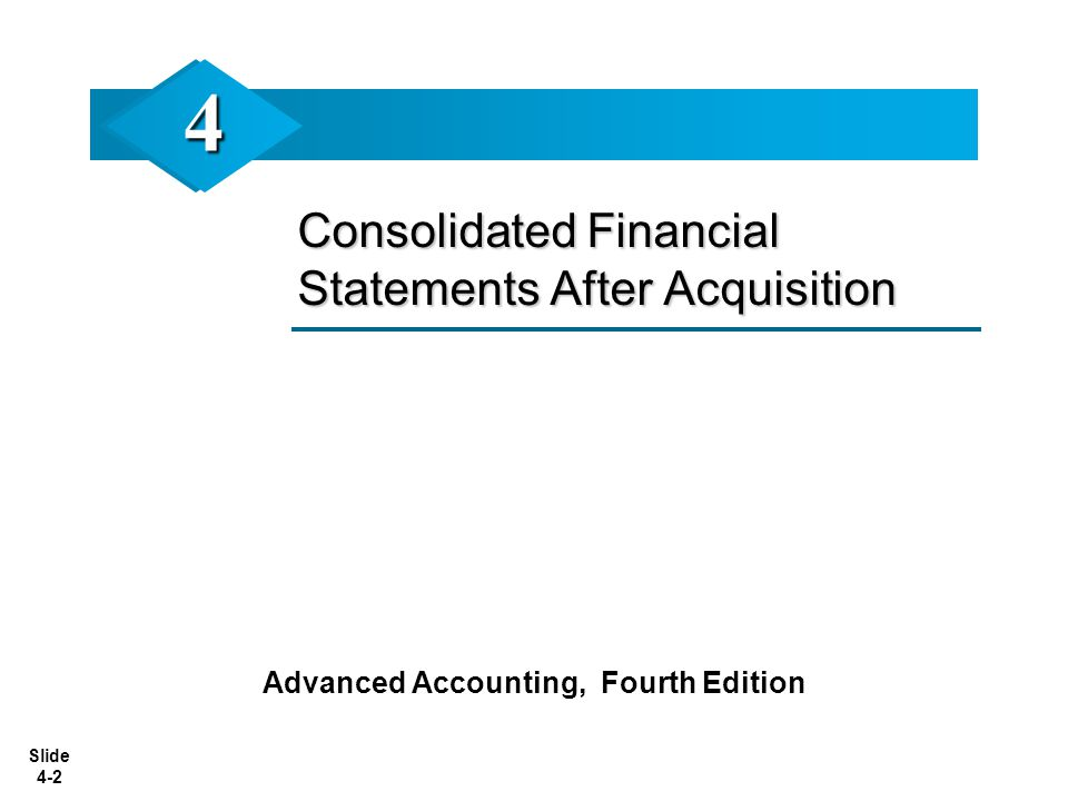 Slide 4-2 Consolidated Financial Statements After Acquisition Advanced Accounting, Fourth Edition 44