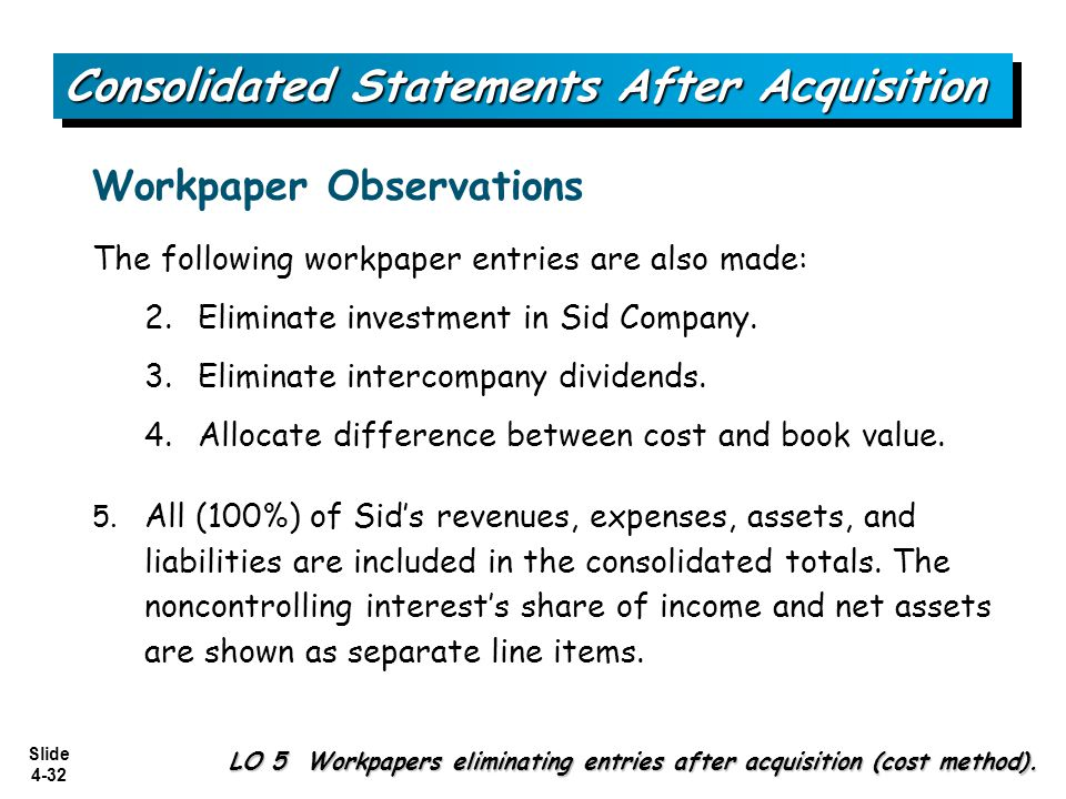 Slide 4-32 The following workpaper entries are also made: 2.Eliminate investment in Sid Company. 3.Eliminate intercompany dividends. 4.Allocate differ
