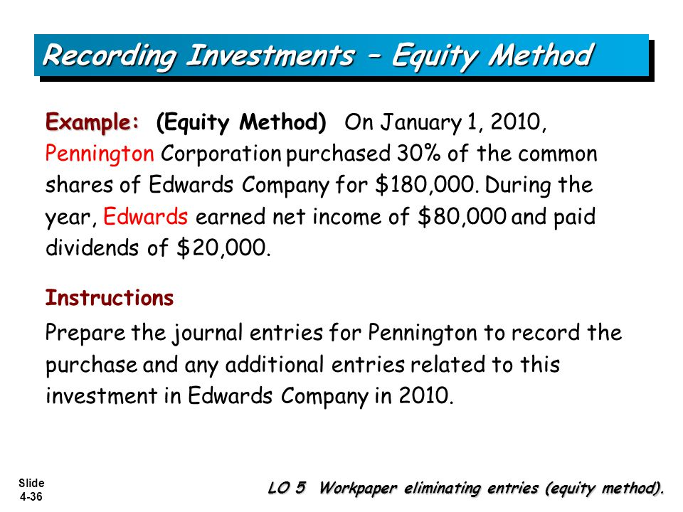 Slide 4-36 Example: Example: (Equity Method) On January 1, 2010, Pennington Corporation purchased 30% of the common shares of Edwards Company for $180