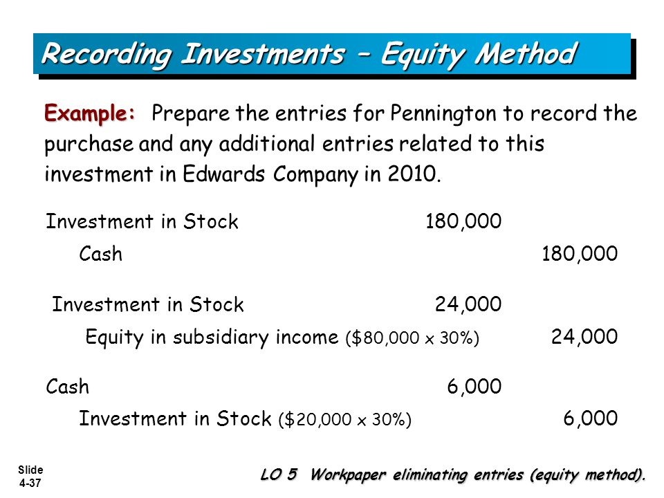 Slide 4-37 Example: Example: Prepare the entries for Pennington to record the purchase and any additional entries related to this investment in Edward