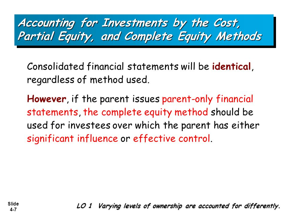 Slide 4-7 Accounting for Investments by the Cost, Partial Equity, and Complete Equity Methods Consolidated financial statements will be identical, reg