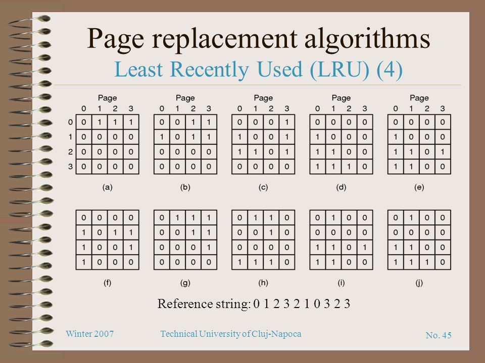 No. 45 Winter 2007Technical University of Cluj-Napoca Page replacement algorithms Least Recently Used (LRU) (4) Reference string: 0 1 2 3 2 1 0 3 2 3