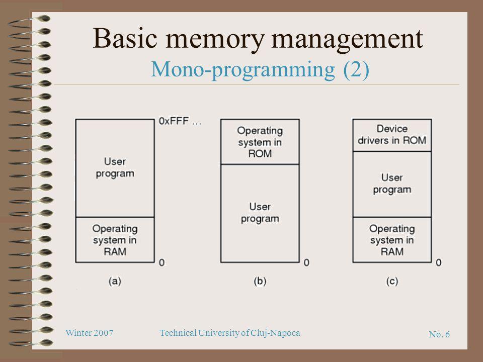 No. 6 Winter 2007Technical University of Cluj-Napoca Basic memory management Mono-programming (2)