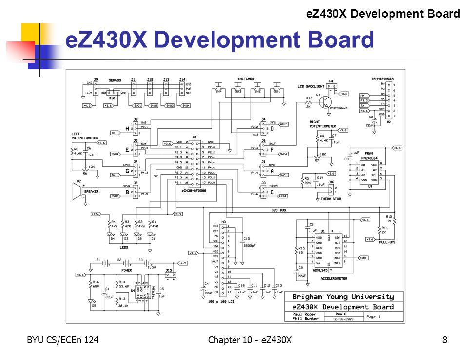 BYU CS/ECEn 124Chapter 10 - eZ430X39 Jumpers 1 (Left Jumper)Signal2 (Right Jumper) ALeft PotentiometerP4.4 (TB1/A13)Servo #1 BBuzzer (PWM)P4.5 (TB2/A14)Servo #2 CThermistorP4.6 (TBOUTH/A15)LED_4 DADXL345 INT1/2P2.2 (TA0/A2)SW_3 ESW_4P2.3 (TA1/A3)Servo #3 FLCD BacklightP2.4 (TA2/A4)Servo #4 GRight PotentiometerP4.3 (TB0/A12)EZ0_AN HSW_2P2.1 (SMCLK/A1)EZ0_TX Jumpers