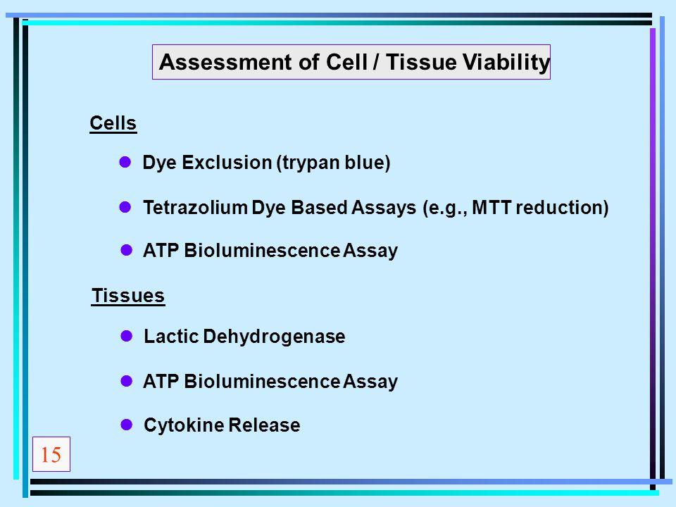Assessment of Cell / Tissue Viability Cells Dye Exclusion (trypan blue) Tetrazolium Dye Based Assays (e.g., MTT reduction) ATP Bioluminescence Assay T