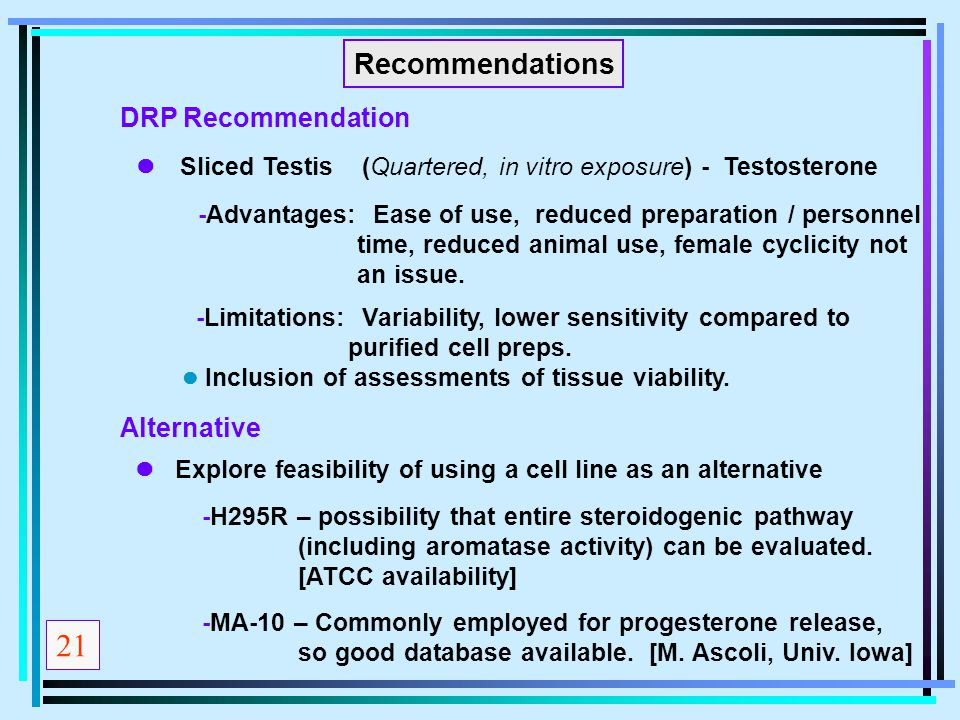 Recommendations  Sliced Testis (Quartered, in vitro exposure) - Testosterone Explore feasibility of using a cell line as an alternative -H295R – poss