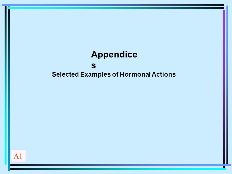Appendice s Selected Examples of Hormonal Actions A1