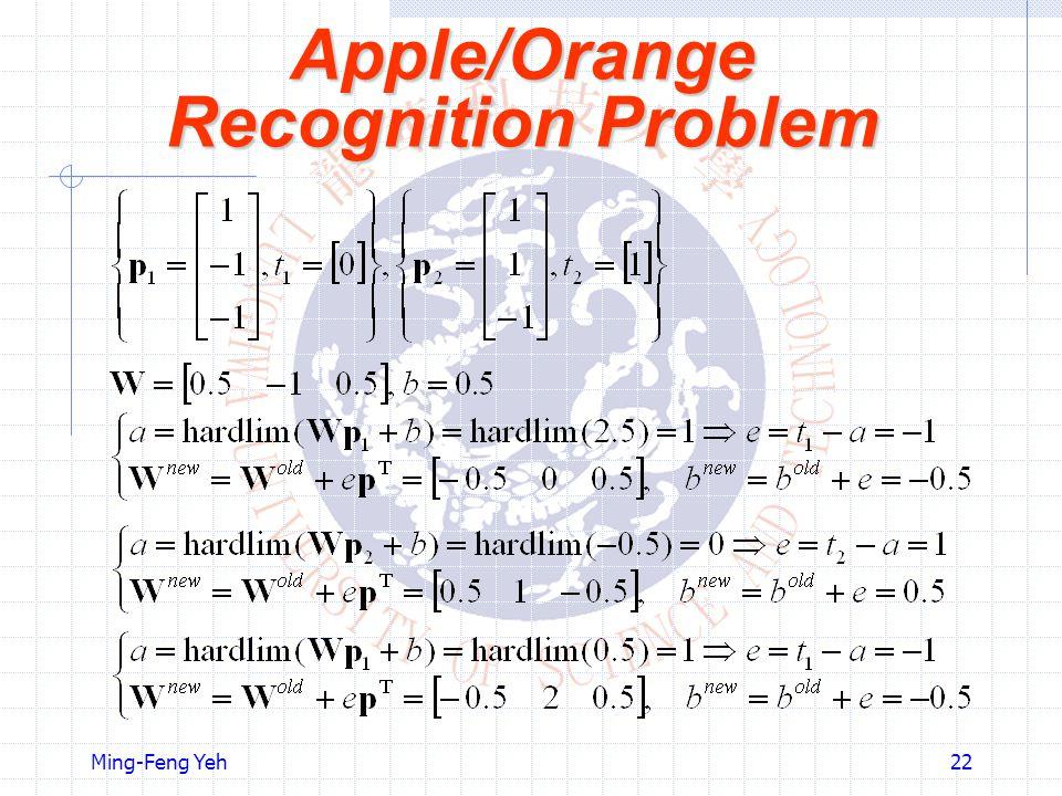 Ming-Feng Yeh22 Apple/Orange Recognition Problem
