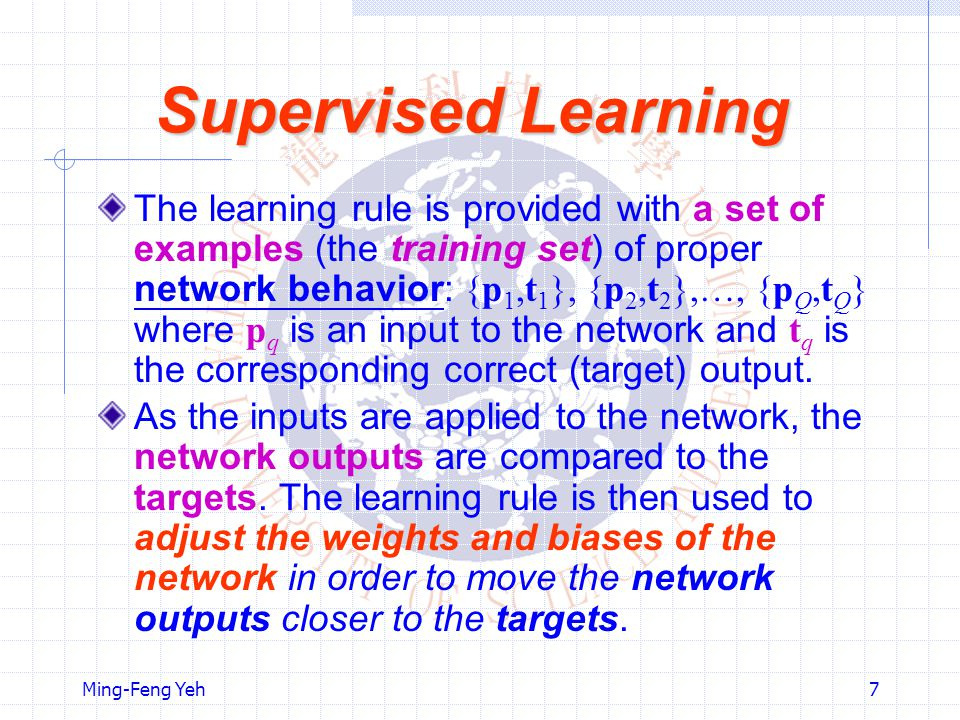 Ming-Feng Yeh7 Supervised Learning The learning rule is provided with a set of examples (the training set) of proper network behavior: {p 1,t 1 }, {p