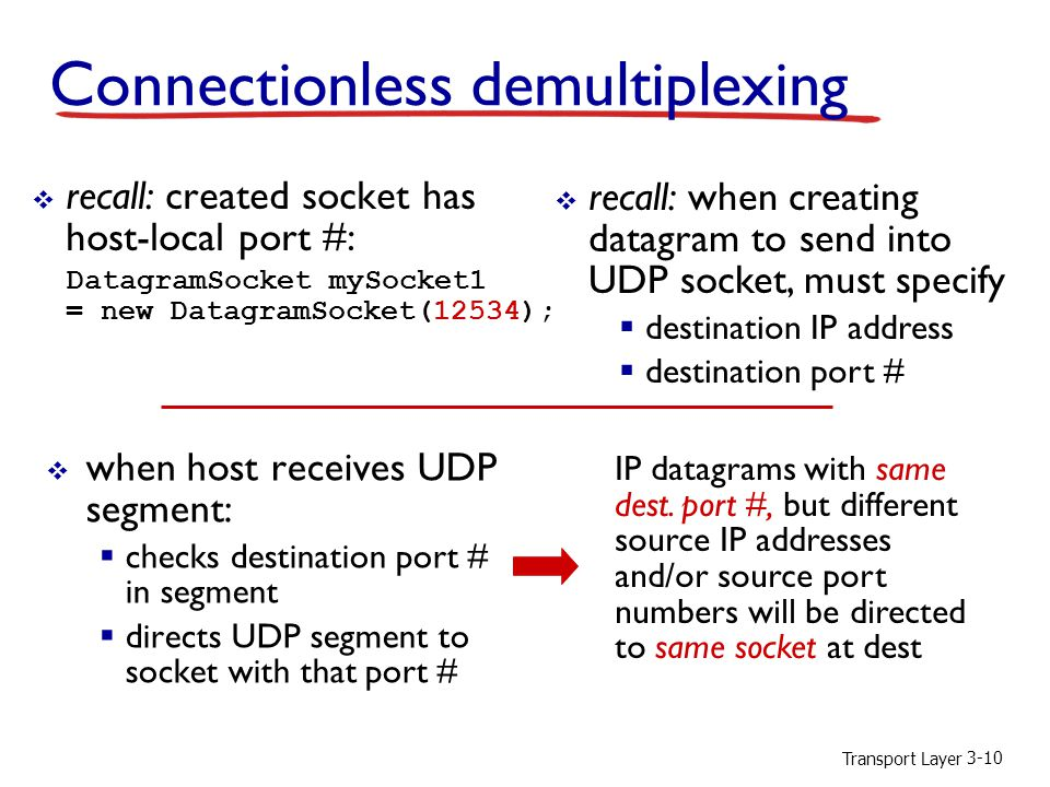 Transport Layer 3-10 Connectionless demultiplexing  recall: created socket has host-local port #: DatagramSocket mySocket1 = new DatagramSocket(12534);  when host receives UDP segment:  checks destination port # in segment  directs UDP segment to socket with that port #  recall: when creating datagram to send into UDP socket, must specify  destination IP address  destination port # IP datagrams with same dest.
