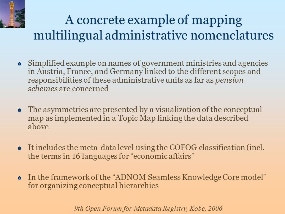 9th Open Forum for Metadata Registry, Kobe, 2006 A concrete example of mapping multilingual administrative nomenclatures  Simplified example on names of government ministries and agencies in Austria, France, and Germany linked to the different scopes and responsibilities of these administrative units as far as pension schemes are concerned  The asymmetries are presented by a visualization of the conceptual map as implemented in a Topic Map linking the data described above  It includes the meta-data level using the COFOG classification (incl.