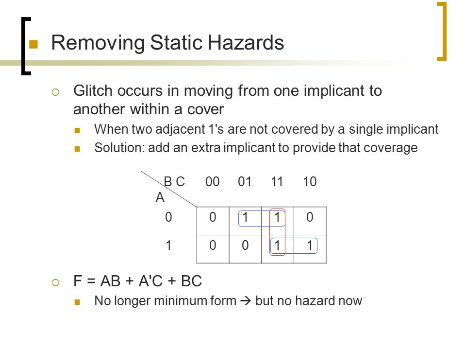Hazard Removal: Example  F(A,B,C,D) =  m(6,7,8,9,12,13,14,15)  The red prime implicant removes the static-1 hazard C D A B 00011110 000000 010011 111111 101100