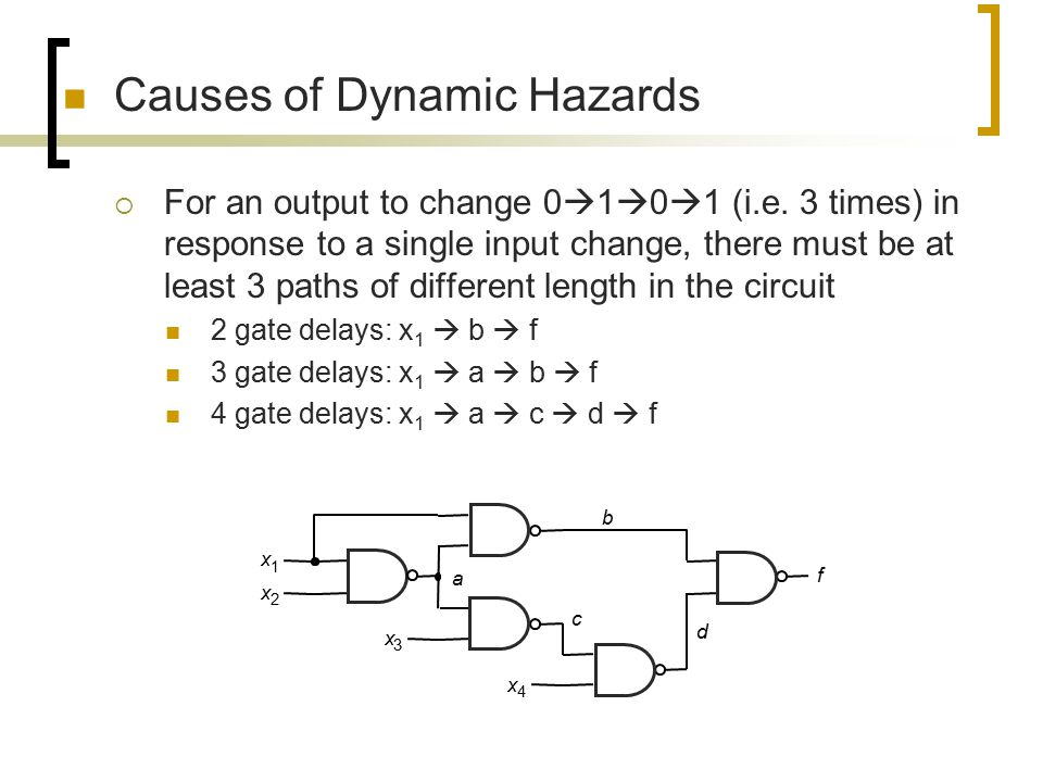 Causes of Dynamic Hazards  For an output to change 0  1  0  1 (i.e. 3 times) in response to a single input change, there must be at least 3 paths