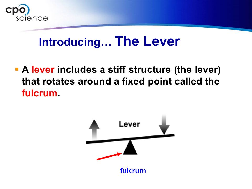 Introducing… The Lever  A lever includes a stiff structure (the lever) that rotates around a fixed point called the fulcrum. fulcrum