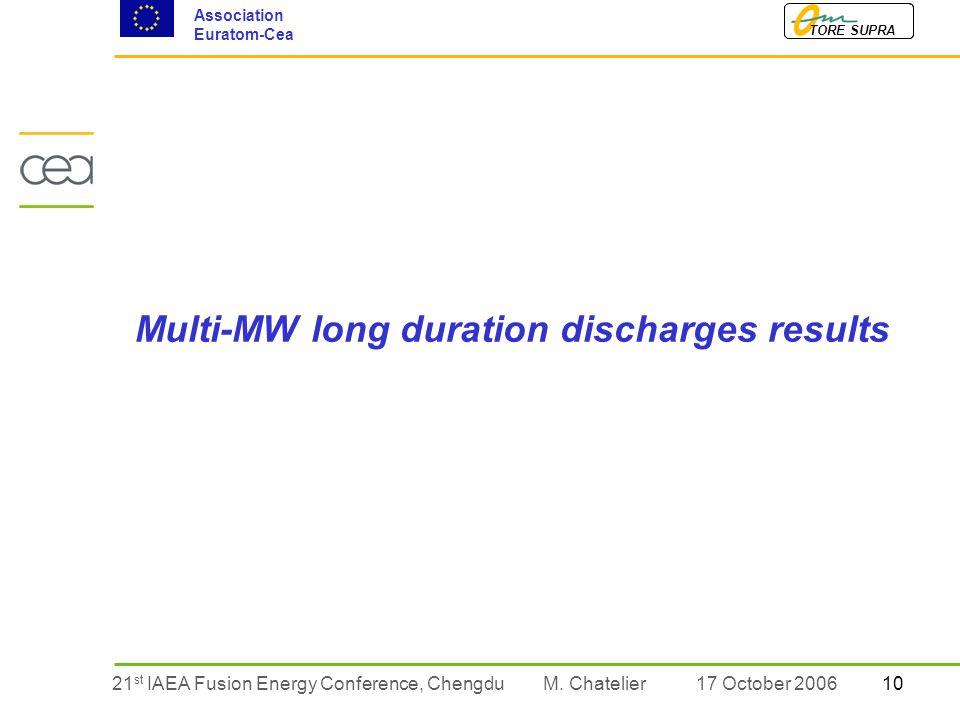 1021 st IAEA Fusion Energy Conference, Chengdu TORE SUPRA Association Euratom-Cea M.