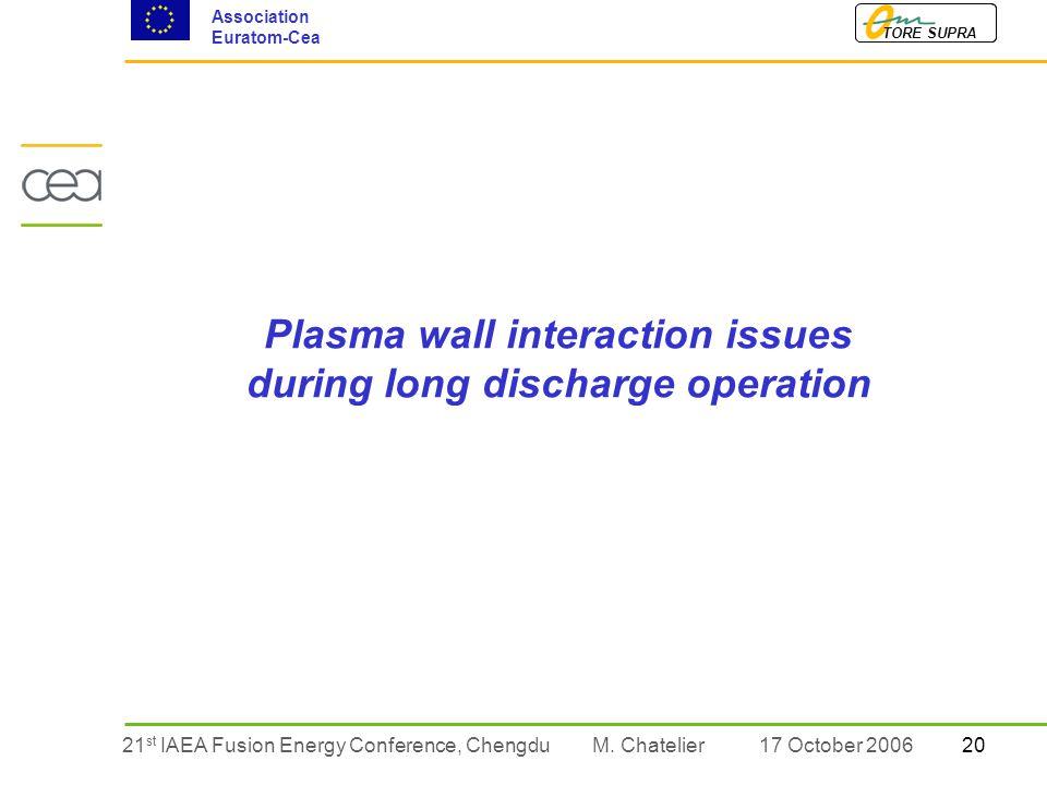 2021 st IAEA Fusion Energy Conference, Chengdu TORE SUPRA Association Euratom-Cea M.