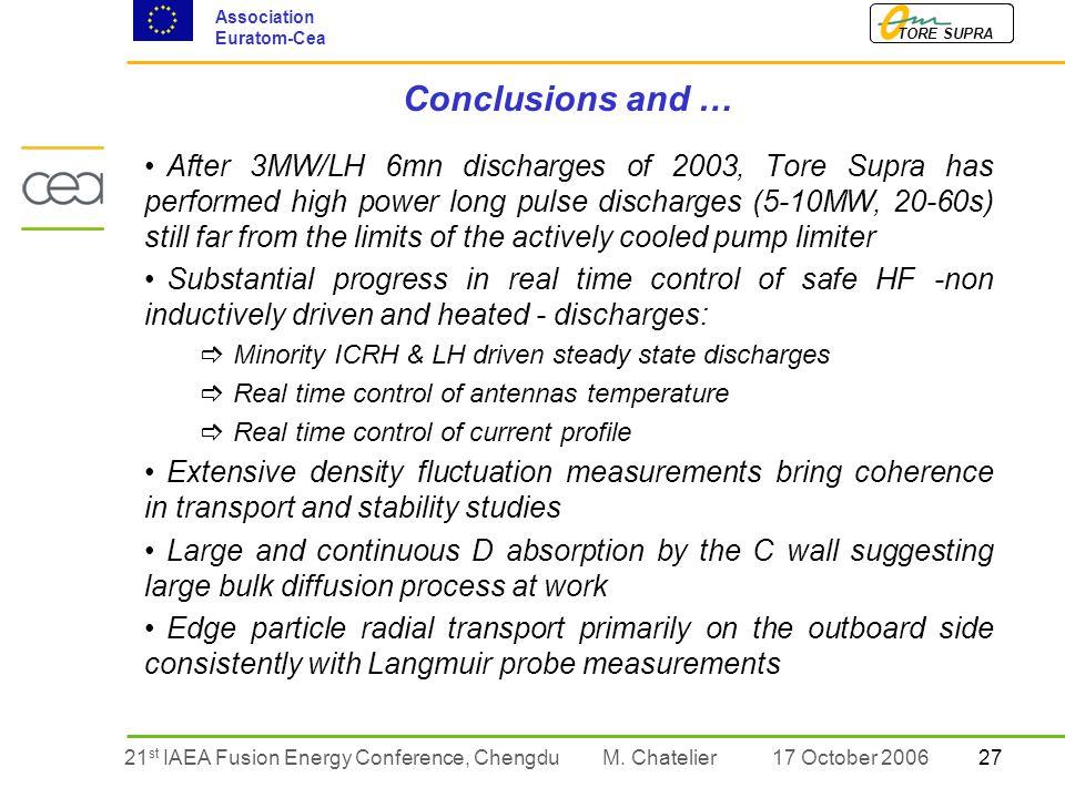 2721 st IAEA Fusion Energy Conference, Chengdu TORE SUPRA Association Euratom-Cea M.