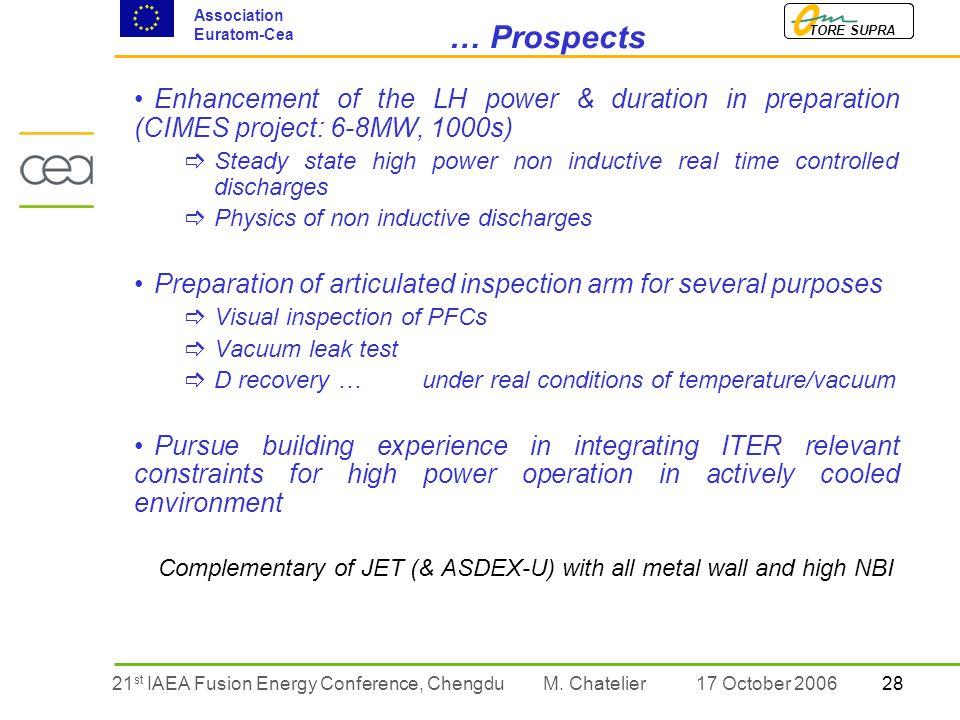 2821 st IAEA Fusion Energy Conference, Chengdu TORE SUPRA Association Euratom-Cea M.