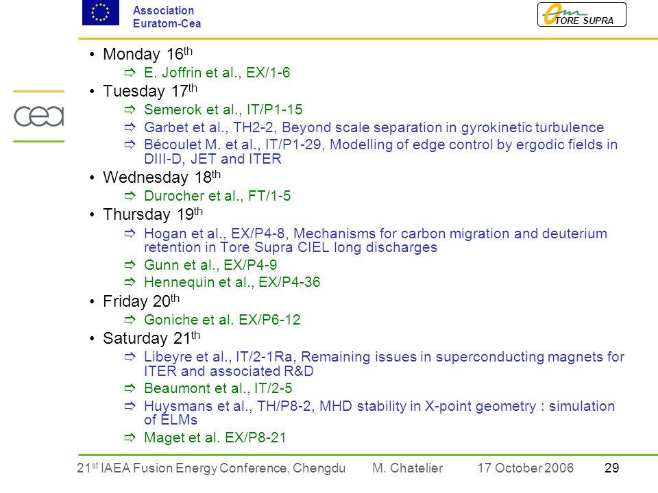 2921 st IAEA Fusion Energy Conference, Chengdu TORE SUPRA Association Euratom-Cea M.