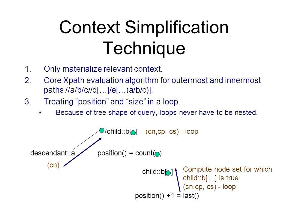 Context Simplification Technique 1.Only materialize relevant context. 2.Core Xpath evaluation algorithm for outermost and innermost paths //a/b/c//d[…