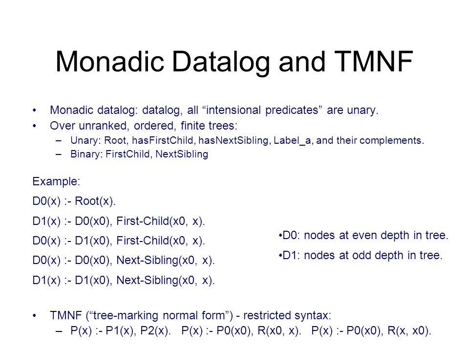Monadic Datalog and TMNF Monadic datalog: datalog, all intensional predicates are unary.