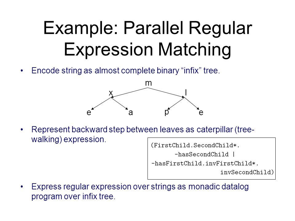 Encode string as almost complete binary infix tree.