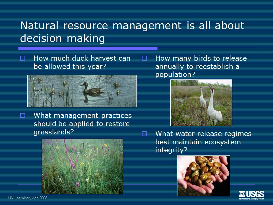 UNL seminar, Jan 2008 Natural resource management is all about decision making  How much duck harvest can be allowed this year.