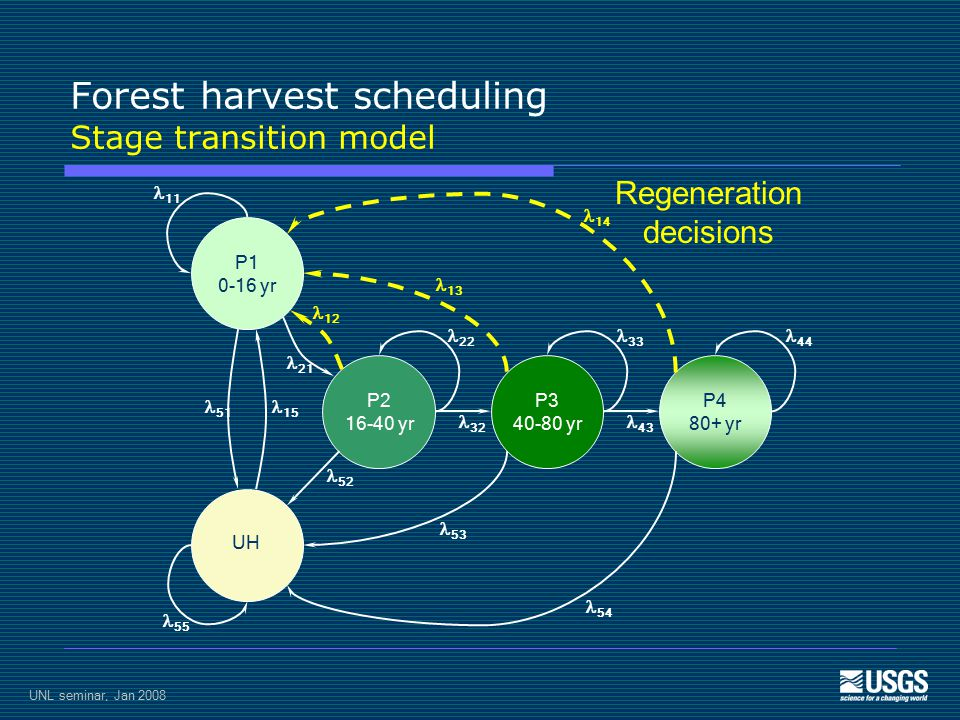 UNL seminar, Jan 2008 Forest harvest scheduling Stage transition model P1 0-16 yr UH P2 16-40 yr P3 40-80 yr P4 80+ yr 11 55 51 15 21 12 14 54 13 53 22 33 44 32 43 52 Regeneration decisions