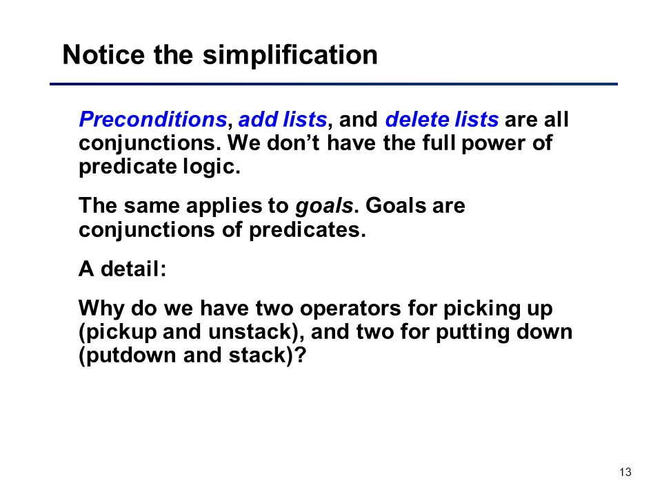 13 Notice the simplification Preconditions, add lists, and delete lists are all conjunctions. We don't have the full power of predicate logic. The sam