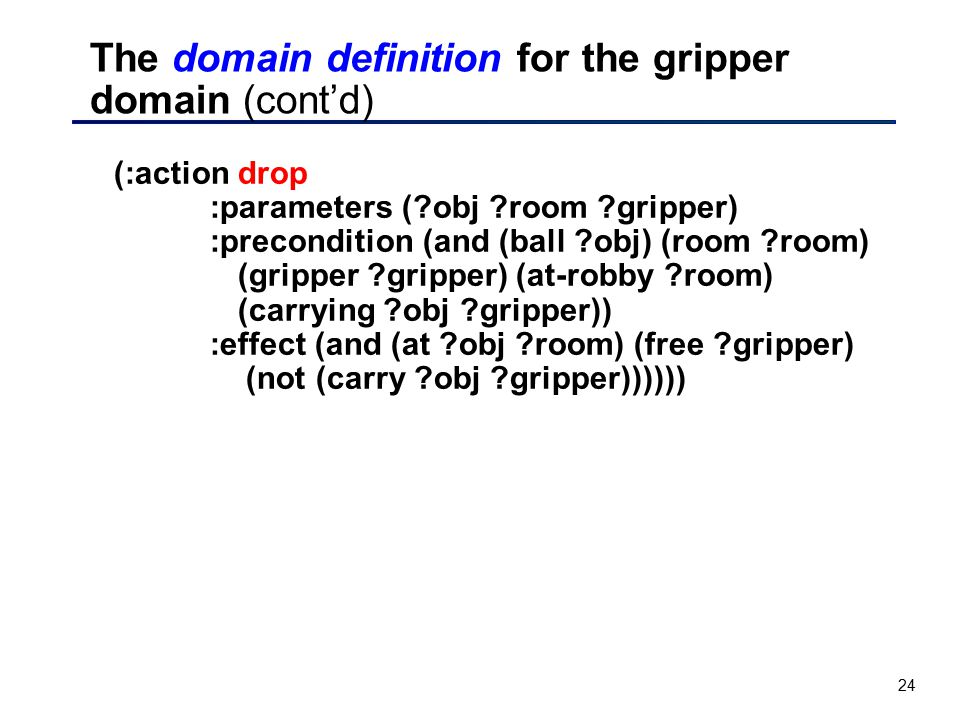 24 The domain definition for the gripper domain (cont'd) (:action drop :parameters (?obj ?room ?gripper) :precondition (and (ball ?obj) (room ?room) (