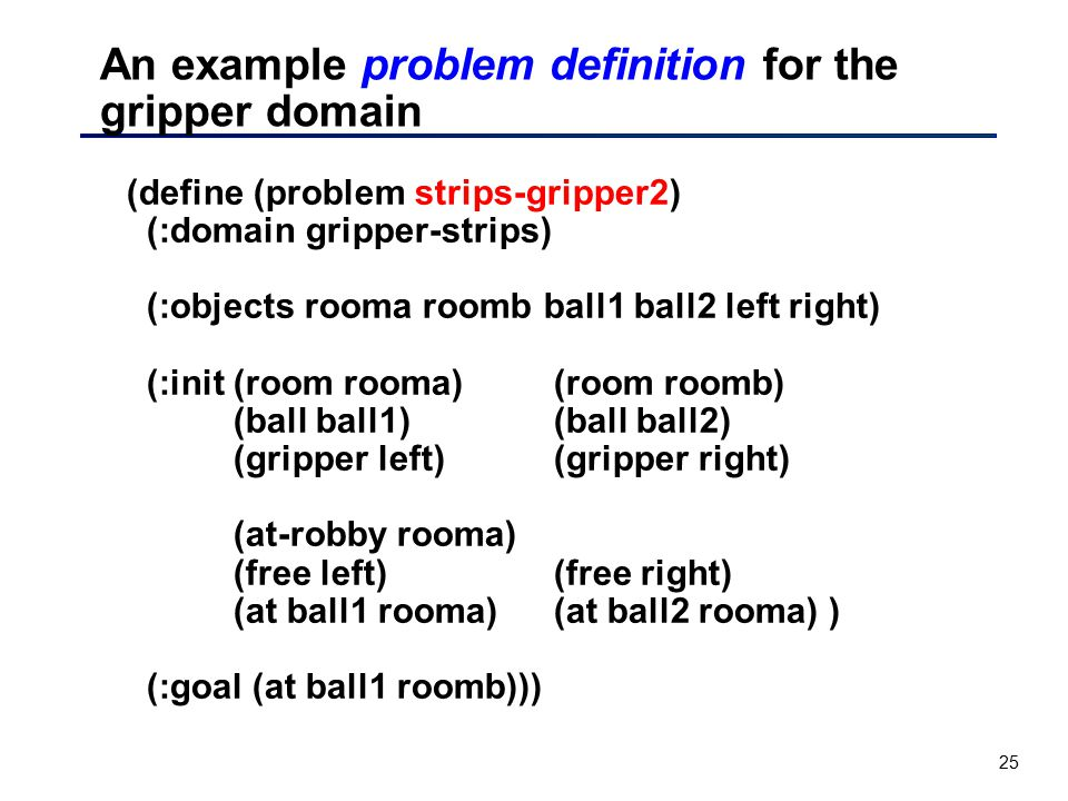 25 An example problem definition for the gripper domain (define (problem strips-gripper2) (:domain gripper-strips) (:objects rooma roomb ball1 ball2 l