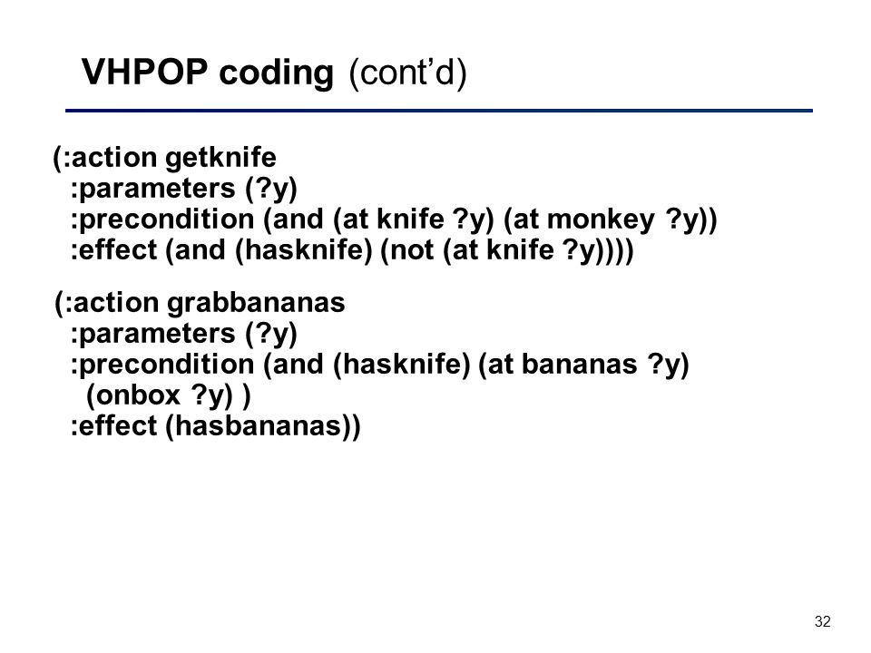 32 VHPOP coding (cont'd) (:action getknife :parameters (?y) :precondition (and (at knife ?y) (at monkey ?y)) :effect (and (hasknife) (not (at knife ?y