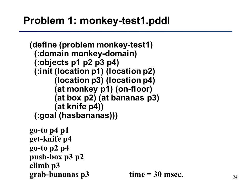 34 Problem 1: monkey-test1.pddl (define (problem monkey-test1) (:domain monkey-domain) (:objects p1 p2 p3 p4) (:init (location p1) (location p2) (loca