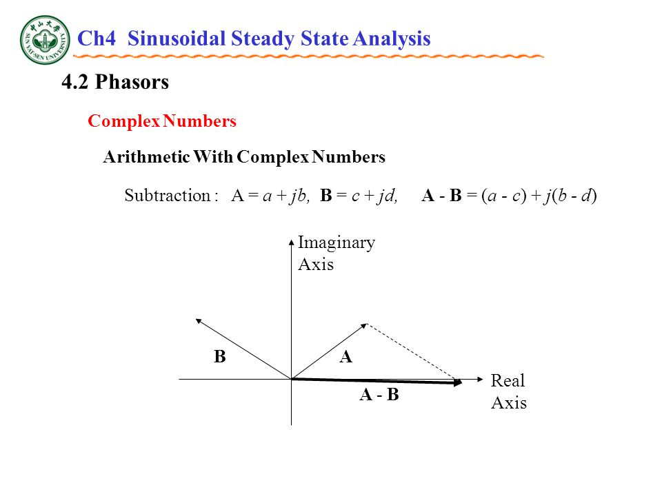 4.2 Phasors Complex Numbers Arithmetic With Complex Numbers Subtraction : A = a + jb, B = c + jd, A - B = (a - c) + j(b - d) Real Axis Imaginary Axis AB A - B Ch4 Sinusoidal Steady State Analysis