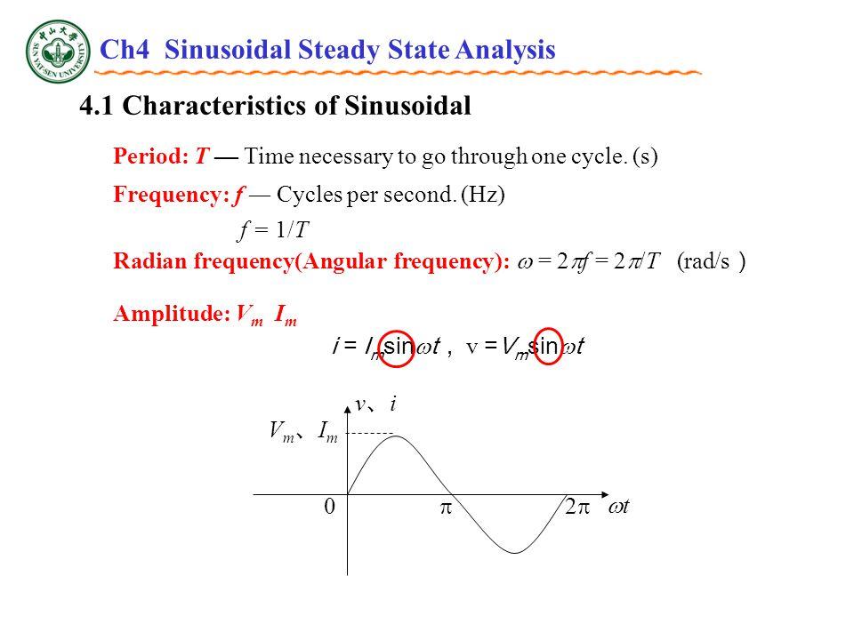 4.3 Phasor Relationships for R, L and C Power Capacitor Average Power: P=0 Reactive Power ( Var ) P tt v、iv、i tt v i ++ -- Energy stored: Ch4 Sinusoidal Steady State Analysis