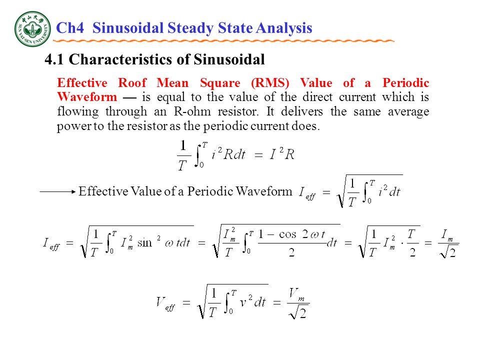 4.4 Impedance Complex Impedance 20k  + - 1F1F10V  0  VCVC + -  = 377 Find V C P4.9 20k  0  + - 2.65k  -90  10V  0  VCVC + - Now use the voltage divider to find V C : Ch4 Sinusoidal Steady State Analysis