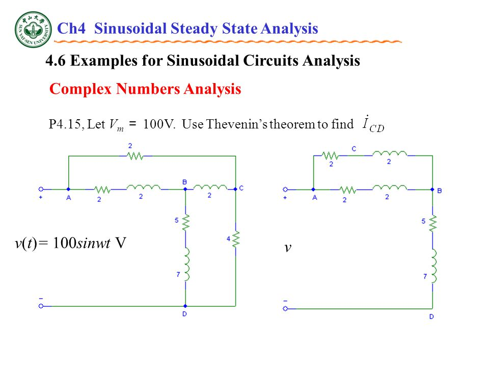 4.6 Examples for Sinusoidal Circuits Analysis P4.15, Let V m = 100V.