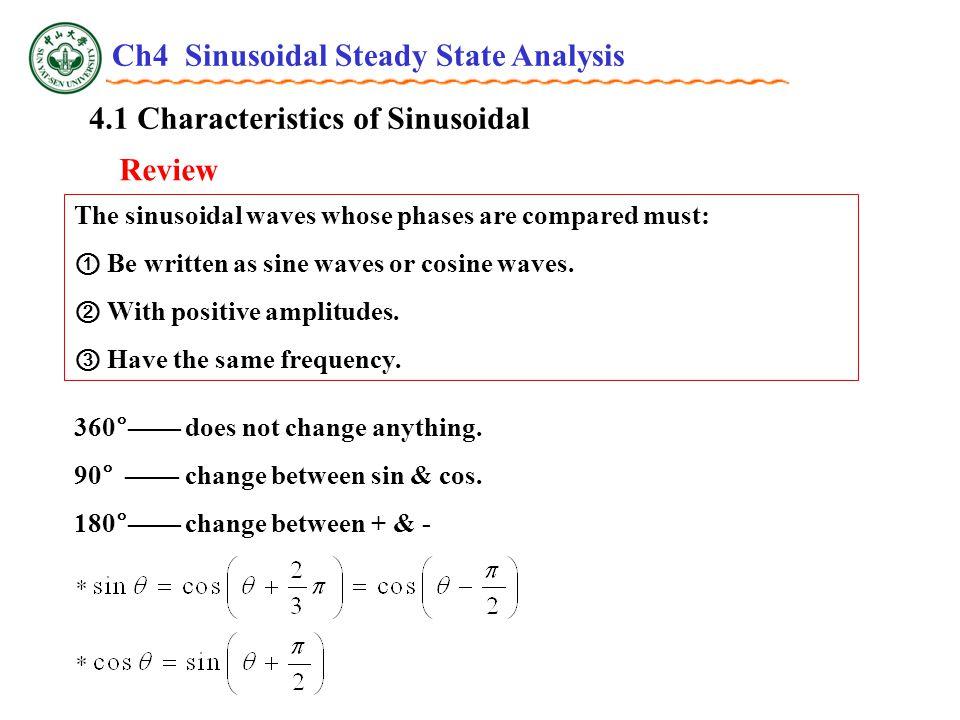 4.3 Phasor Relationships for R, L and C v ~ i relationship Inductor v、iv、i tt v i eLeL Wave and Phasor diagrams : Ch4 Sinusoidal Steady State Analysis