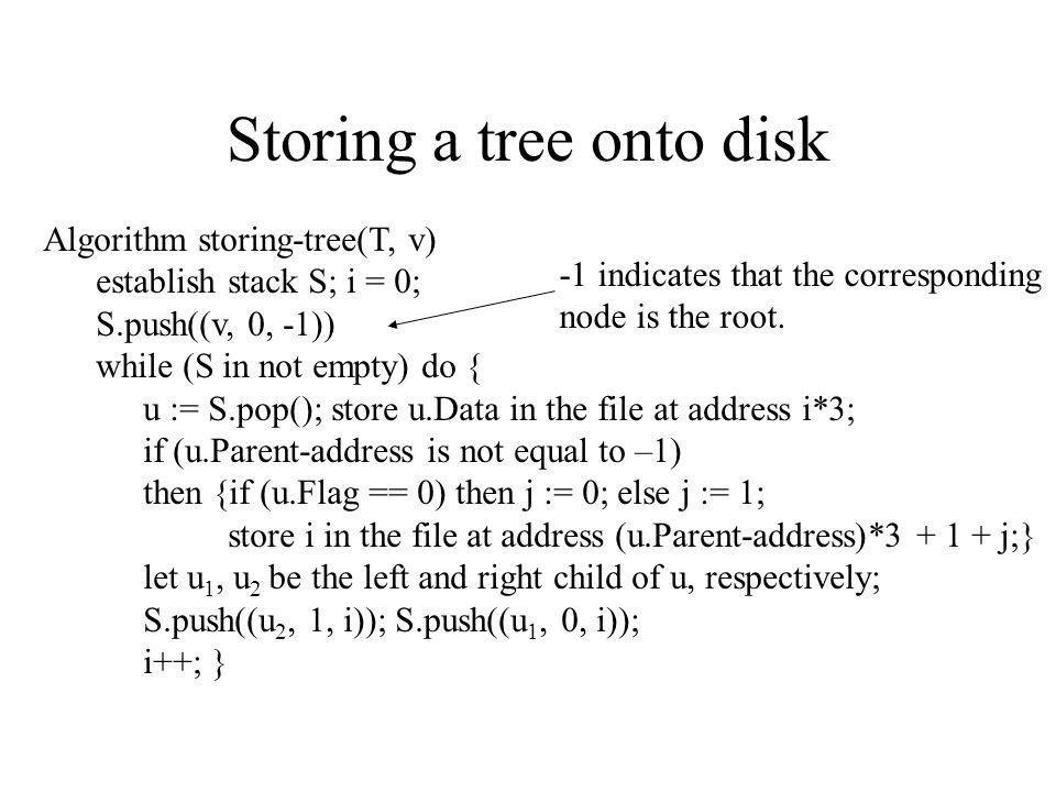 Storing a tree onto disk Algorithm storing-tree(T, v) establish stack S; i = 0; S.push((v, 0, -1)) while (S in not empty) do { u := S.pop(); store u.D