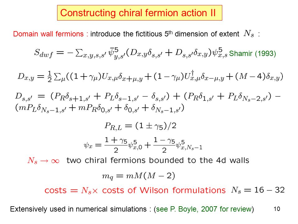 Constructing chiral fermion action II Domain wall fermions : introduce the fictitious 5 th dimension of extent : Shamir (1993) Extensively used in num