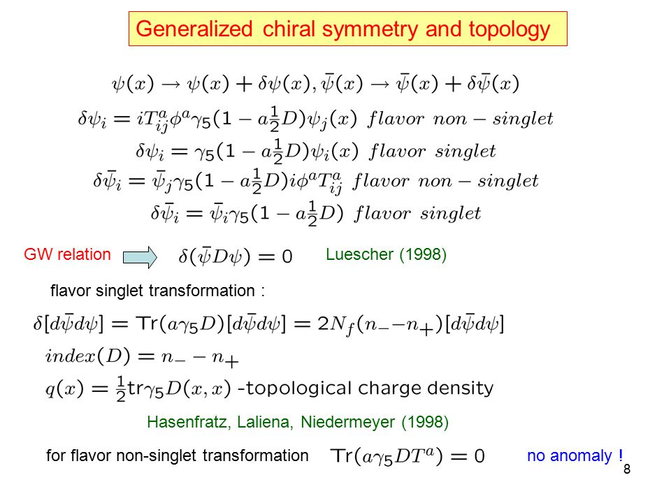 Generalized chiral symmetry and topology GW relationLuescher (1998) Hasenfratz, Laliena, Niedermeyer (1998) flavor singlet transformation : for flavor non-singlet transformationno anomaly .
