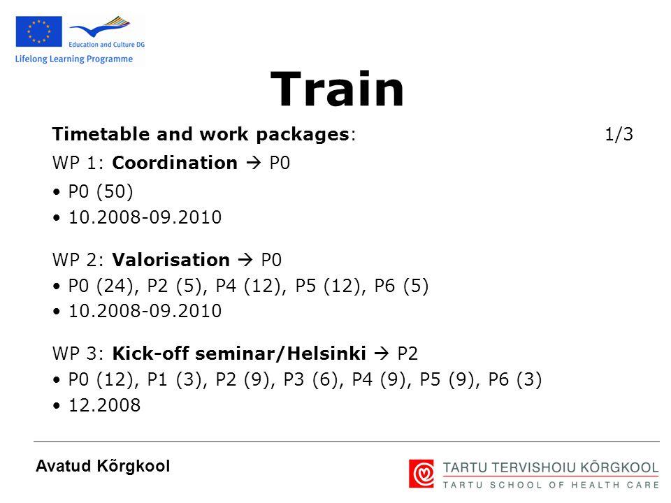 5 Avatud Kõrgkool Timetable and work packages: 1/3 WP 1: Coordination  P0 P0 (50) 10.2008-09.2010 WP 2: Valorisation  P0 P0 (24), P2 (5), P4 (12), P5 (12), P6 (5) 10.2008-09.2010 WP 3: Kick-off seminar/Helsinki  P2 P0 (12), P1 (3), P2 (9), P3 (6), P4 (9), P5 (9), P6 (3) 12.2008 Train