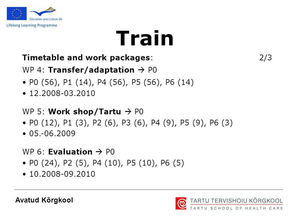 6 Avatud Kõrgkool Timetable and work packages: 2/3 WP 4: Transfer/adaptation  P0 P0 (56), P1 (14), P4 (56), P5 (56), P6 (14) 12.2008-03.2010 WP 5: Wo