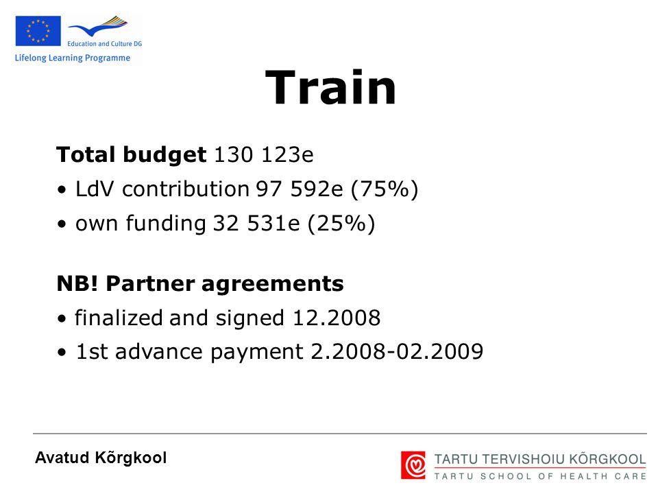 8 Avatud Kõrgkool Total budget 130 123e LdV contribution 97 592e (75%) own funding 32 531e (25%) NB! Partner agreements finalized and signed 12.2008 1