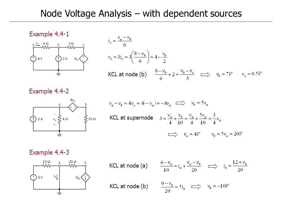 Example 4.4-1 Example 4.4-2 Example 4.4-3 Node Voltage Analysis – with dependent sources KCL at node (b) KCL at supernode KCL at node (b) KCL at node (a)