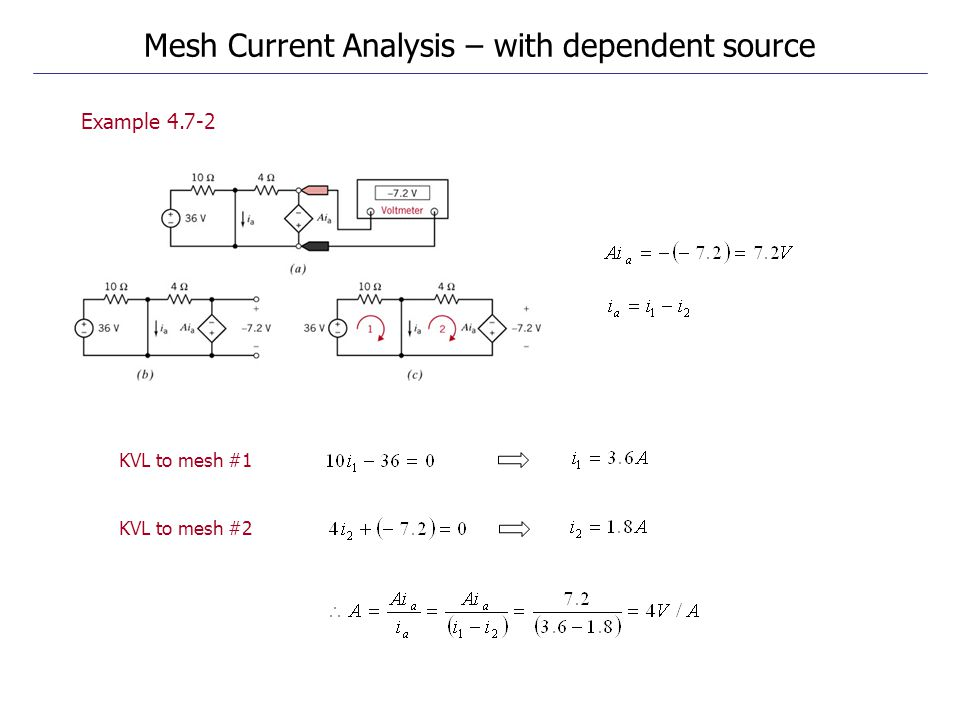 Example 4.7-2 Mesh Current Analysis – with dependent source KVL to mesh #1 KVL to mesh #2