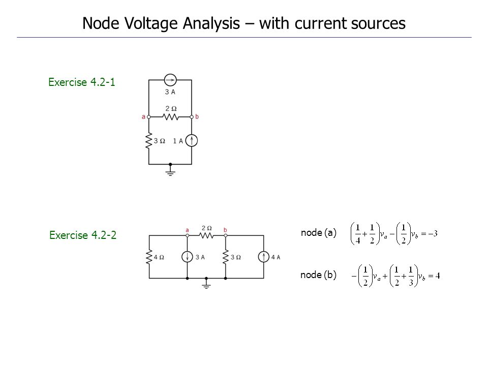 Exercise 4.2-1 Exercise 4.2-2 Node Voltage Analysis – with current sources node (a) node (b)