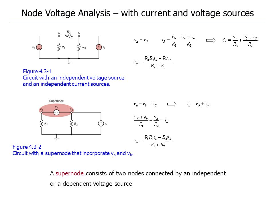 Figure 4.3-1 Circuit with an independent voltage source and an independent current sources.